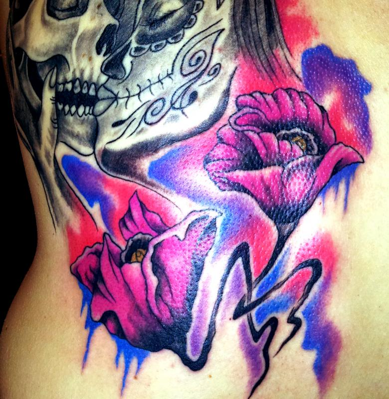 tattoo floral couleur