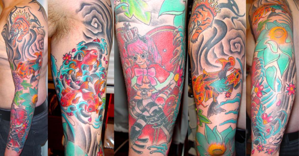 tattoo asiatique avec mangas et en couleur