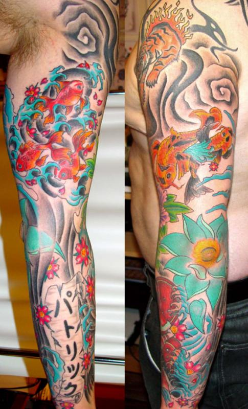 tattoo asiatique carpe koî couleur sur bras