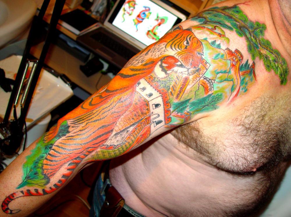 tattoo asiatique tigre couleur