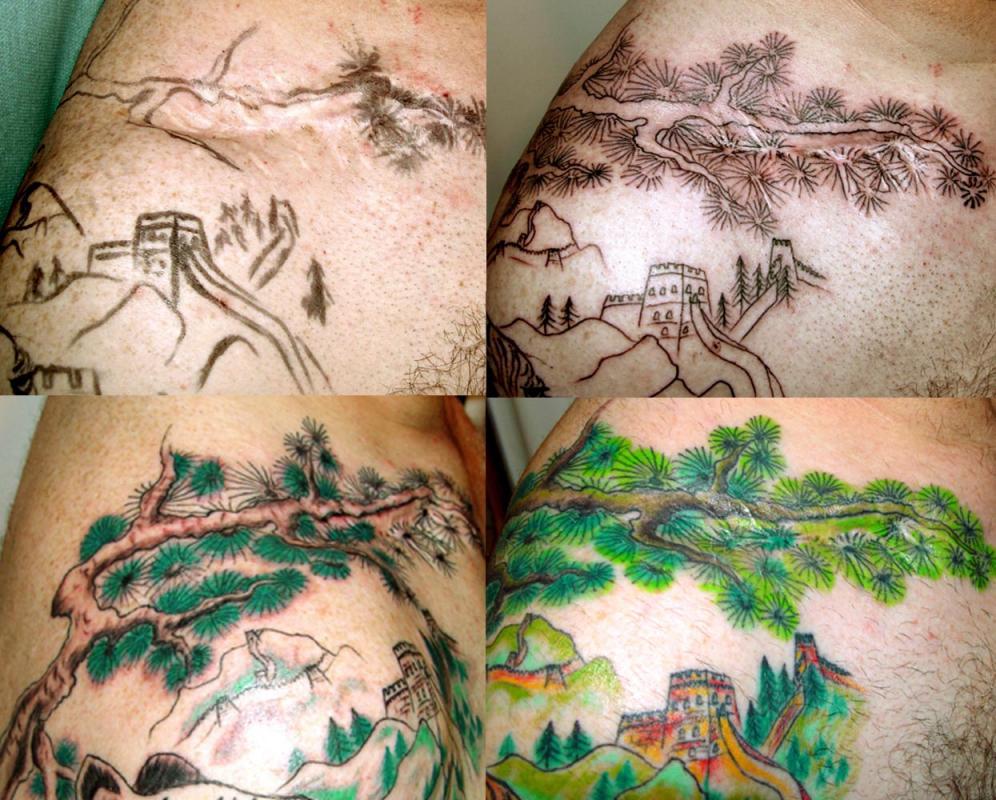 tattoo cacher cicatrice avec du japonais